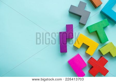 Abstract Construction From Wooden Blocks With Copy Space. The Concept Of Logical Thinking, Geometric