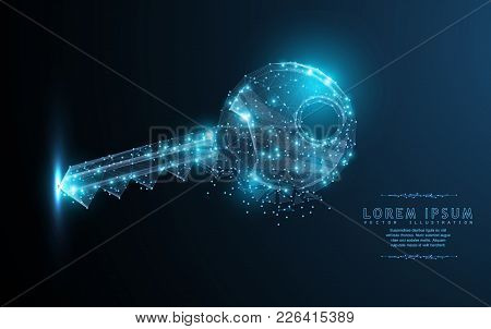 Key. Polygonal Wireframe Mesh Art With Crumbled Edge On Blue Night Sky With Dots, Stars And Looks Li