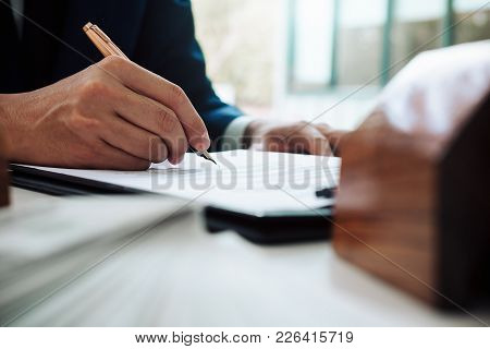 Close Up Of Business Person Hand Putting Signing Contract,running Own Small Business,have A Contract