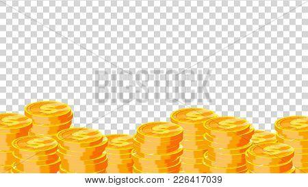 Coins Vector. Gold Dollar Coins. Finance Heap, Dollar Coin Pile. Golden Money. Isolated Flat Illustr