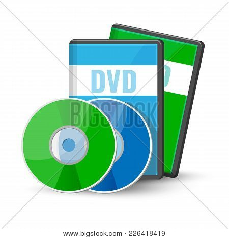 Dvd Digital Video Discs And Cases For Storage, Versatile Optical Disc Round Shape Format Vector Illu