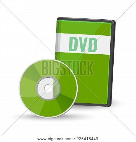 Dvd Digital Video Disc And Case For Storage, Versatile Optical Disc Round Shape Format Vector Illust