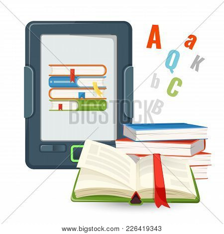 Ebook Device Contains Millions Of Paper Books Published In Digital Form, Electronic Book Vs Real Tex