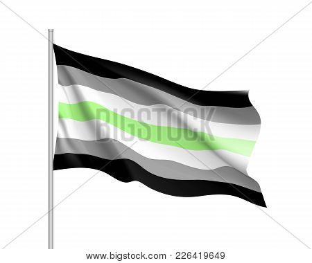 Agender Pride Waving Flag Movement Lgbt, Realistic Icon. Element Of Sexual Minorities, Gays And Lesb