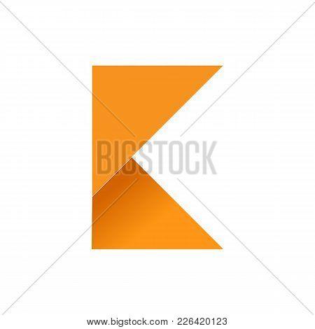 Initial K Folded Paper Symbol Vector Illustration Graphic Design