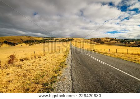 Scenic Drive On The Road From Rapid Bay During Hot Summer Season, Fleurieu Peninsula, South Australi
