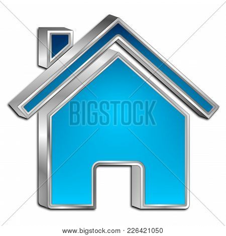 Decorative Blue Home Symbol - 3d Illustration
