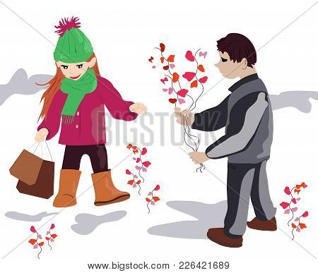A Handsome Boy Gives Spring Flowers To A Beautiful Girl.