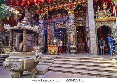 Tainan, Taiwan - November 4, 2017: Lady Linshui's Temple On 4 No
