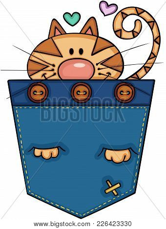 Scalable Vectorial Representing A Cute Cat In The Pocket, Illustration Isolated On White Background.