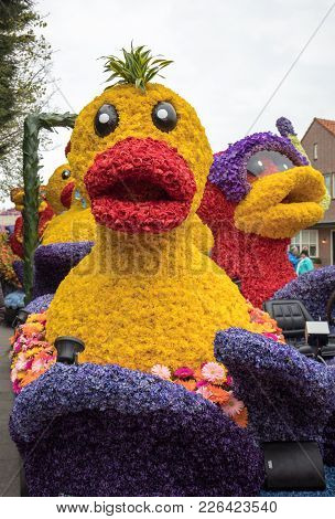 Noordwijkerhout, Netherlands - April 21,  2017: Duck Made Of Colorful Flowers At The Traditional Flo