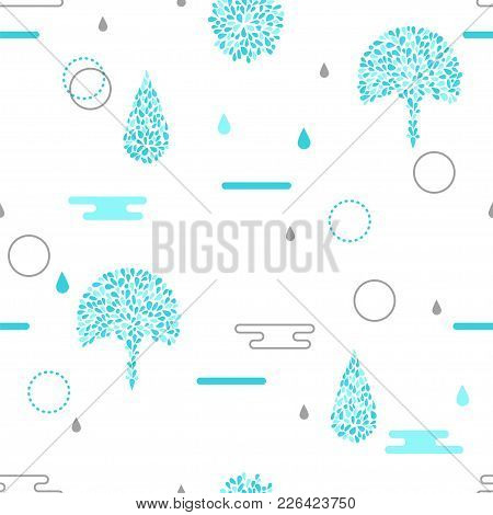 Water Drop Seamless Pattern. Stock Vector Illustration Of Blue Water Simple Elements On White Backgr