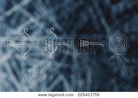 Reaching Goals Conceptual Illustration: Sequence Of Bow And Arrow About To Hit A Target In The Centr