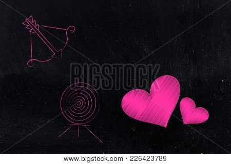 Lovehearts With Bow And Arrow And Target Next To Them