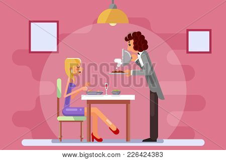 Beautiful Girl Attended Restaurant Lunch Dinner Flat Design Vector Illustration