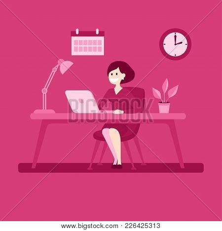 Businesswoman Sitting At The Desk Working With Computer