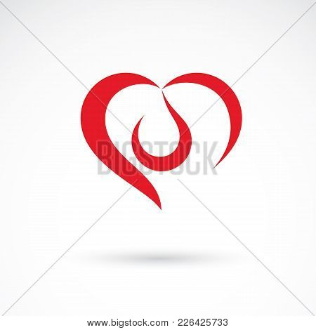 Vector Illustration Of Heart Shape And Drops Of Blood. Cardiovascular System Diseases Remedy Concept