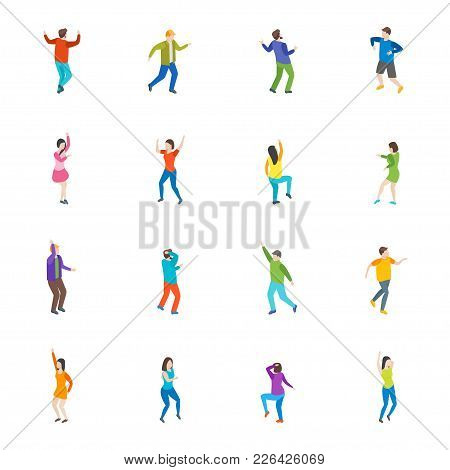 Isometric Dancing People Characters Icon Set Isolated On White Background Music Party, Disco. Vector