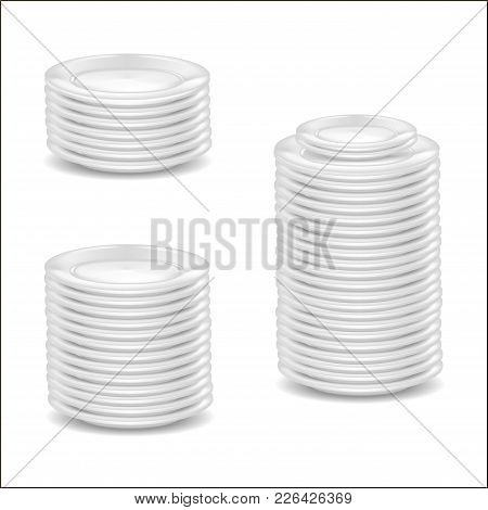 Realistic Detailed 3d Template Blank White Dishware Mock Up For Kitchen, Restaurant. Vector Illustra