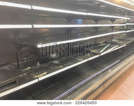Empty Shelves At Grocery Store In America