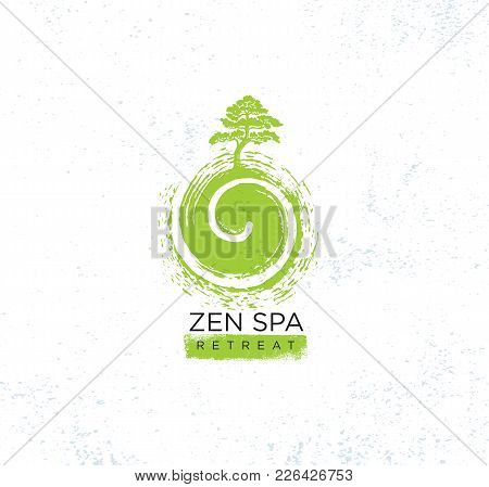 Zen Spa Wellness Holistic Retreat Organic Sign Concept. Tree On The Swirl Illustration On Rough Text