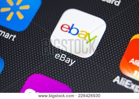 Sankt-petersburg, Russia, February 9, 2018: Ebay Application Icon On Apple Iphone X Screen Close-up.
