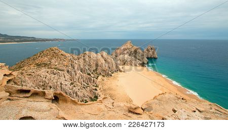 Divorce Beach And Lands End As Seen From Top Of Mt Solmar In Cabo San Lucas Baja Mexico Bcs