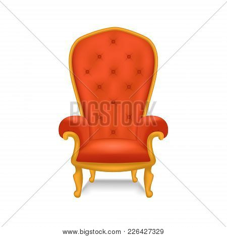 Realistic Detailed 3d Luxurious Antiquarian Armchair Or Throne Closeup View. Vector Illustration Of