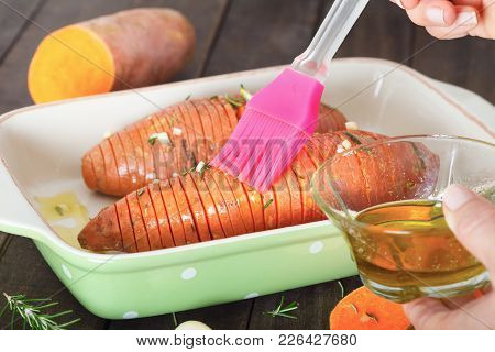 Preparing Hassel Back Sweet Potatoes, Batat. Cooking Concept.