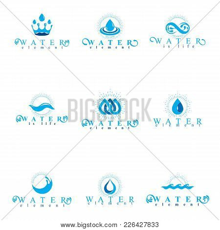 Fresh Mineral Water Design Emblems Like Water Drops, H2o Symbols, Wave Splash And Limitless Logotype