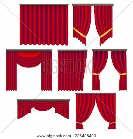 Realistic Detailed 3d Red Window Curtains Set Decoration Element Drapery Luxury Of Window. Vector Il