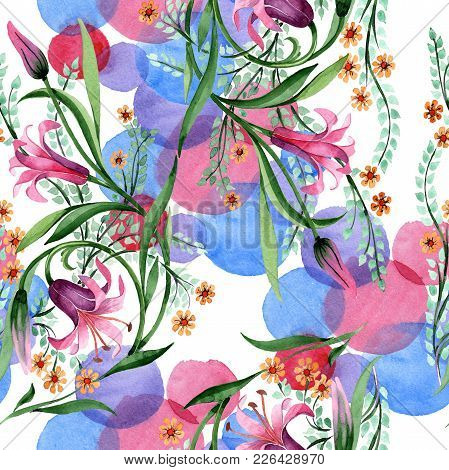 Wildflower Ornament Flower Pattern In A Watercolor Style. Full Name Of The Plant: Lily. Aquarelle Wi