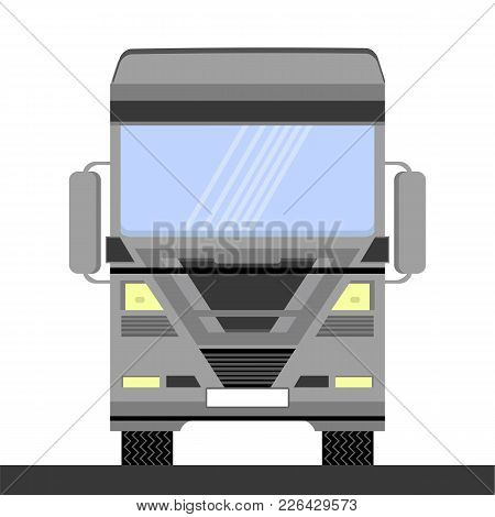 Grey Container Truck Icon On White Background. Front View. Cargo Delivery. Generic Semi-trailer Tran