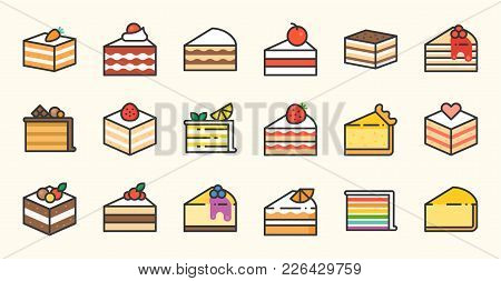 Set Of Cake, Tiramisu, Cheese Cake, Red Velvet, Orange, Carrot, Chocolate, Mocha, Crepe And Rainbow