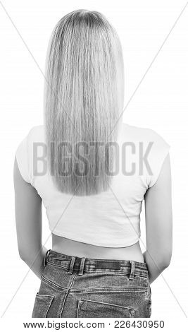 Back View Of Woman With Long Blond Hair, Isolated On White. Haircare Concept