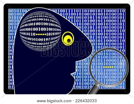Hacker Searching For Confidential Information. Data Thief Spying Into Private And Business Secrets
