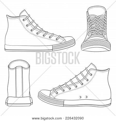 Vector Set With Sneakers, Gumshoes. Isolated Objects On White.