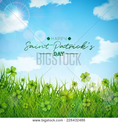 Saint Patricks Day Illustration With Green Clovers Field On Blue Sky Background. Irish Lucky Holiday
