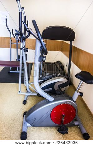 Variety Of Fitness Equipment Iin The Gym.