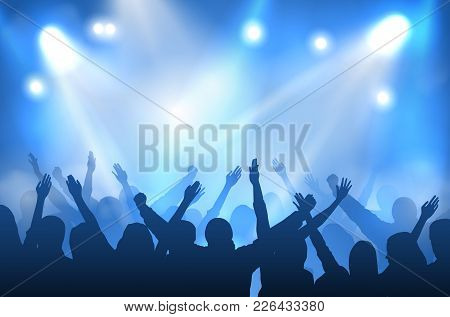 Vector Concert Stage Illuminated With Blue Lights And Silhouettes Of Cheering Crowd