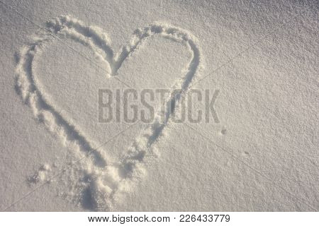White Snow With Drown Heart Shape In Valentine's Day