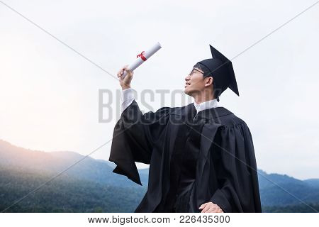 Graduation Student Commencement University Degree Concept, Group Of Multiracial Graduates Holding Di