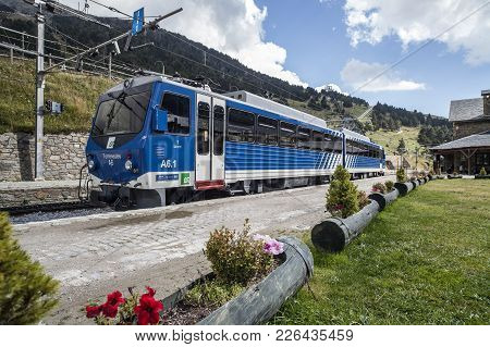 Vall De Nuria,spain-september 15,2011: Mountain Train In Vall Nuria, Catalan Pyrenees.