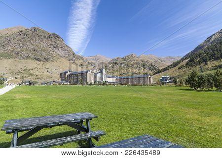 Vall De Nuria,spain-september 15,2011: Landscape In Catalan Pyrenees Sanctuary Of Nuria,vall De Nuri