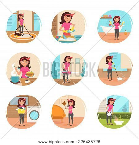 Housewife. Cleaning, Cooking, Washing, Ironing, Watering Flowers. Homework Cleaning Lady Vector Isol
