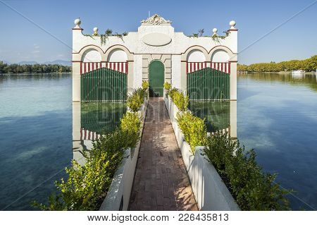 Banyoles,spain-september 26,2011: Construction Over Lake Or Estany Called Pesqueres,banyoles, Provin