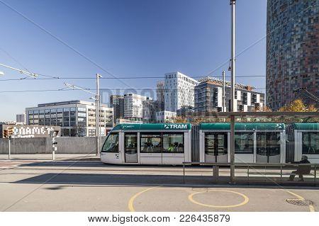Barcelona,spain-december 23, 2011: Public Transportation, Tram In Glories Square, Barcelona.