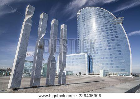 Barcelona,spain-november 26,2011: Modern Architecture, Hotel W Or Hotel Vela, By Architect Ricard Bo