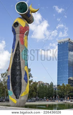 Barcelona,spain-august 27,2011: Sculpture Dona I Ocell, Woman And Bird, By Joan Miro, Barcelona.