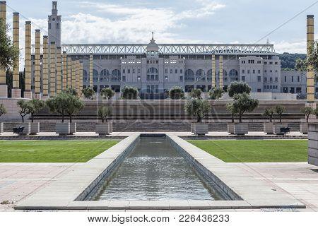 Barcelona,spain-july 13,2011: Olympic Stadium,estadi Olimpic De Montjuic Lluis Companys, Exterior Fa